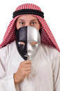 Arab in hypocrisy concept on white Stock Photo