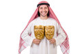 Arab in hypocrisy concept on white Royalty Free Stock Photo