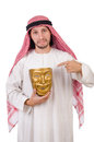 Arab in hypocrisy concept on white Stock Image