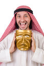 Arab in hypocrisy concept on white Royalty Free Stock Photography