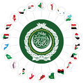 Arab league member states flags of the overlaid on outline map and the emblem isolated on white background syria Stock Image