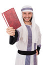 Arab man with book isolated on white Royalty Free Stock Photo