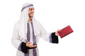 Arab man with book isolated on white Royalty Free Stock Images