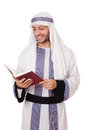 Arab man with book isolated on white Stock Photography