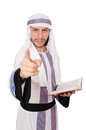 Arab man with book isolated on white Stock Images