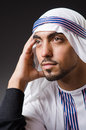 Arab man in deep thinking mode Royalty Free Stock Photo
