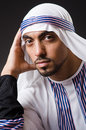 Arab man in deep thinking mode Stock Images