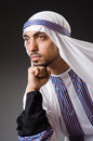 Arab man in deep thinking mode Royalty Free Stock Images
