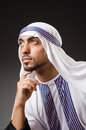 Arab man in deep thinking mode Royalty Free Stock Photography