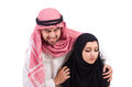 Arab man with his wife men on white Stock Photos
