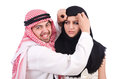Arab man with his wife men on white Royalty Free Stock Images