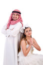 Arab man with his wife men on white Royalty Free Stock Photos