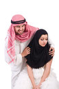 Arab man with his wife men on white Royalty Free Stock Photography