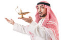Arab man with lamp Stock Photo