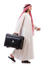Arab man with luggage on white Royalty Free Stock Photos