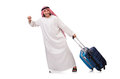 Arab man with luggage on white Royalty Free Stock Images