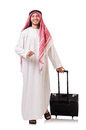 Arab man with luggage on white Stock Image