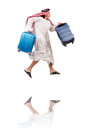 Arab man with luggage on white Royalty Free Stock Photography