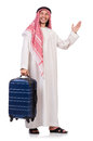 Arab man with luggage on white Stock Photos