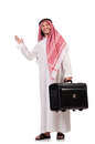 Arab man with luggage on white Royalty Free Stock Image