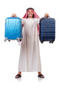 Arab man with luggage on white Stock Photo