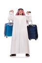 Arab man with luggage on white Stock Photography
