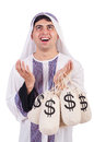 Arab man with money sacks isolated on white Stock Photos