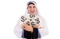 Arab man with money sacks isolated on white Royalty Free Stock Photos