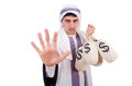 Arab man with money sacks isolated on white Stock Photography