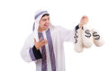 Arab man with money sacks isolated on white Stock Photo