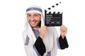 Arab man with movie clapper on white Stock Photography