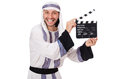 Arab man with movie clapper on white Stock Image