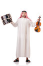 Arab man playing drum isolated Stock Images