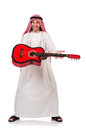 Arab man playing guitar isolated on white Stock Photos