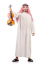 Arab man playing violin isolated Royalty Free Stock Photos