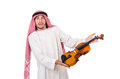 Arab man playing violing on white Royalty Free Stock Photos