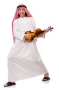 Arab man playing violing on white Royalty Free Stock Photography