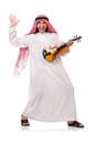 Arab man playing violing on white Stock Images