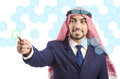 Arab man pressing virtual buttons Royalty Free Stock Photo