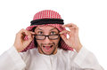 Arab man in specs isolated on white Stock Photography