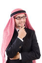 Arab man in specs isolated on white Stock Photos