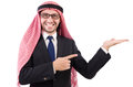 Arab man in specs isolated on white Stock Photo