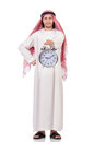 Arab man in time concept on white Royalty Free Stock Images