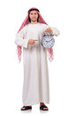 Arab man in time concept on white Stock Photography