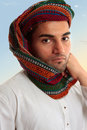 Arab Man in traditional turban keffiyeh Stock Images