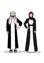 Arab man and woman.In traditional Arab dress on a white background. Royalty Free Stock Photo