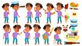 Arab, Muslim Boy Kindergarten Kid Poses Set Vector. Baby Expression. Preschooler. For Card, Advertisement, Greeting