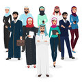 Arab muslim business people teamwork. Arabic cartoon vector illustration.