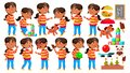 Arab, Muslim Girl Kindergarten Kid Poses Set Vector. Preschooler Playing. Friendship. For Web, Poster, Booklet Design