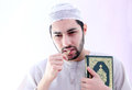 Arab muslim man with toothbrush miswak Royalty Free Stock Photo
